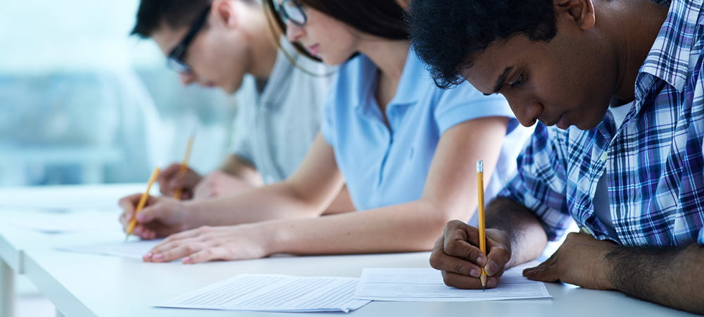 Multi-ethnic group of student during exam