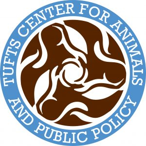 Center for Animals and Public Policy circular logo in blue and brown