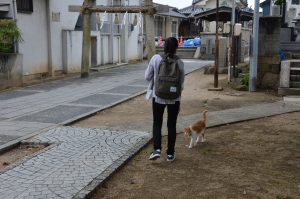 Ota_Stephany-with-a-cat-at-one-of-the-temples-in-Onomichi-with-a-high-population-of-free-roaming-cats-300x199